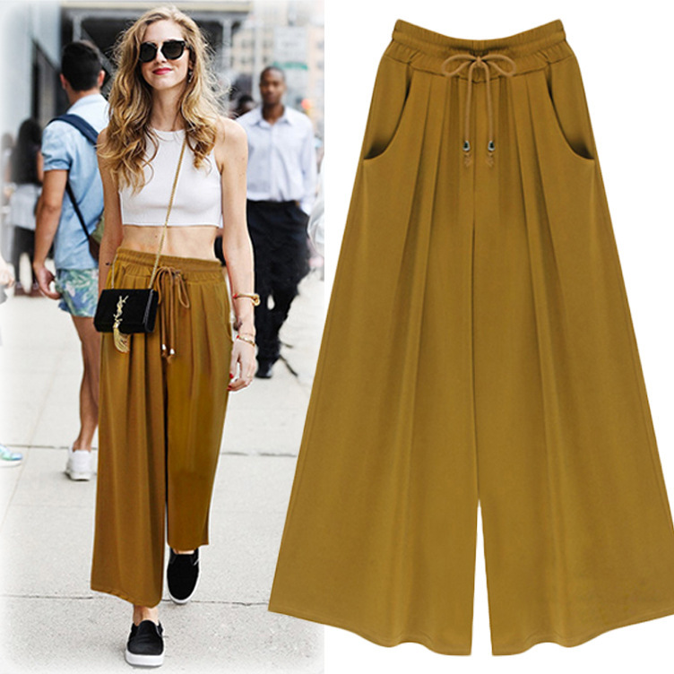 Garment Factory directly supply Chiffon Trousers Wide Leg Women Pants