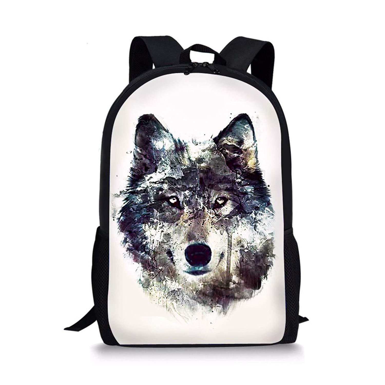 dd16181a67 Get Quotations · doginthehole Wolf Print Waterproof Backpacks Mochila  Classic Animal Rucksack