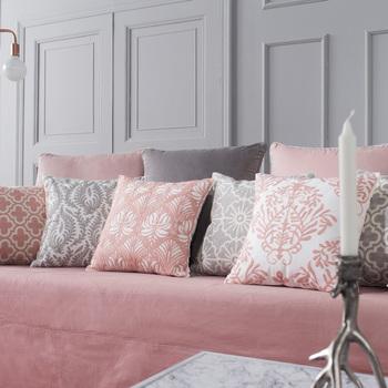 45 45cm Modern Simple Pink Gray Lattice Striped Embroidery Pillowcase Cushions Office Sofa
