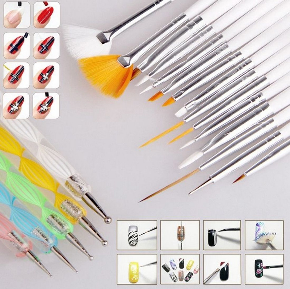 Nail Art Tool Kit: 20 Pcs Nail Art Design Set Dotting Painting Drawing Polish
