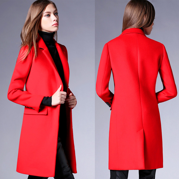 Latest design high quality 2017 Winter bright red woolen women coats Lady slim cashmere coat for wholesale