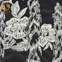 Haute Couture New Design Handmade Pearls And Sequins Lace 3D Embroidery Lace Fabric Beaded Bridal Lace