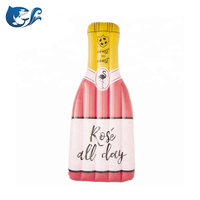 Custom Swimming 7 Ft Rose Bottle Shape Of Wine Inflatable Bottle Shape Pool Float Mattress for Adults