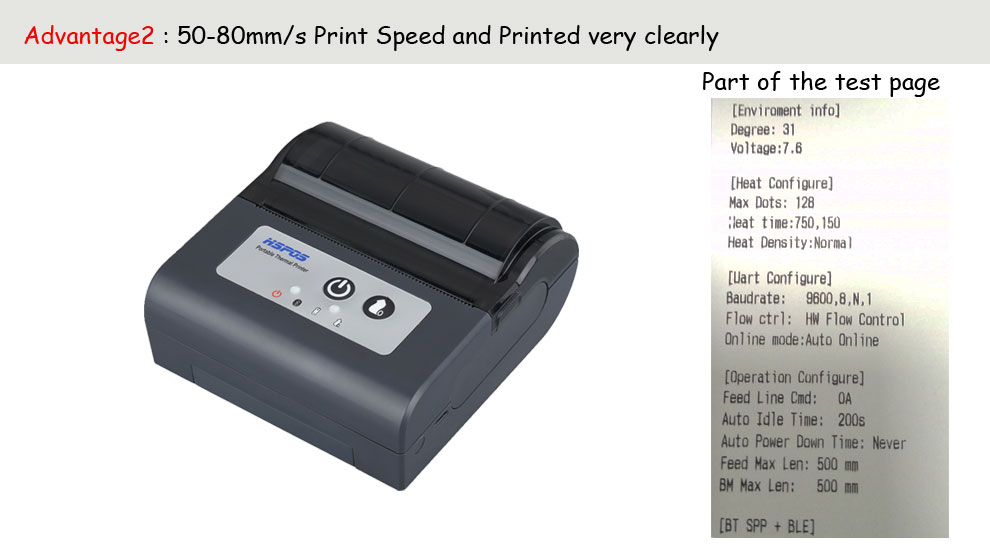 HSPOS in stock bluetooth mobile thermal printer 80mm hot sale mini pos Portable pos with USB interface mobile printing machine