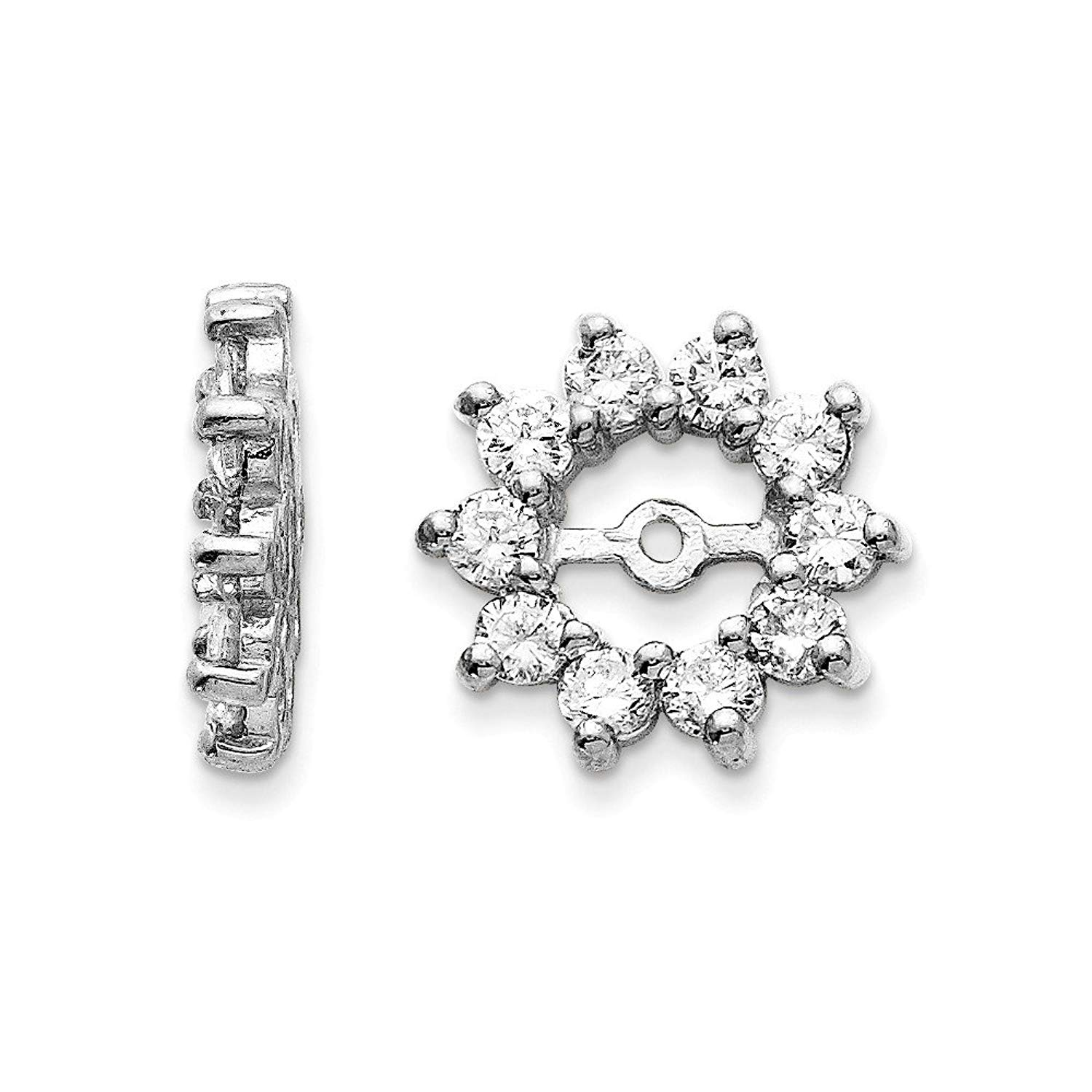 Get Quotations 14k White Gold Polished Diamond Earrings Jacket