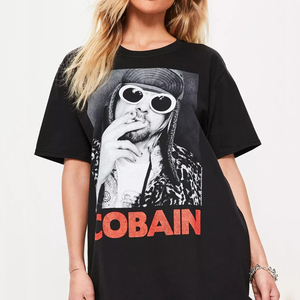 OEM&ODM supply summer wear women black print front graphic short sleeve T shirt