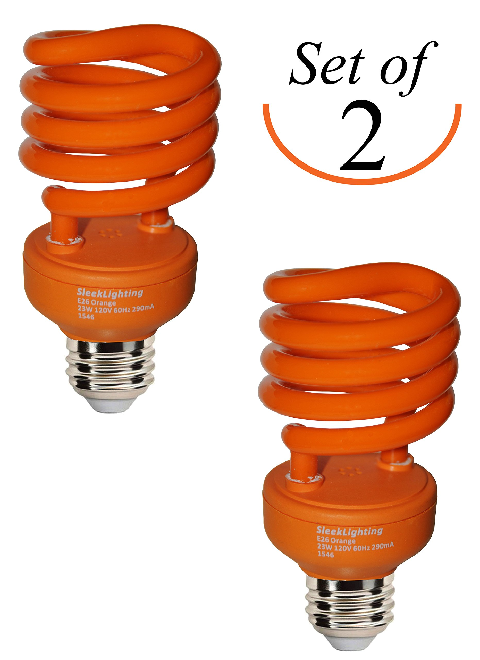SleekLighting 23 Watt T2 ORANGE Light Spiral CFL Light Bulb, 120V, E26 Medium Base-Energy Saver (Pack of 2)