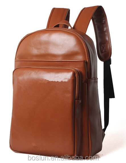 Brown Leather Material day backpacks offered from factory