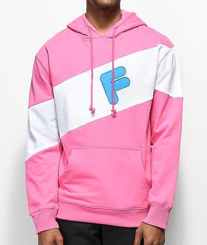 Cut and sew panel pink man sport hoodie Custom made logo applique pullover hoodie wholesale