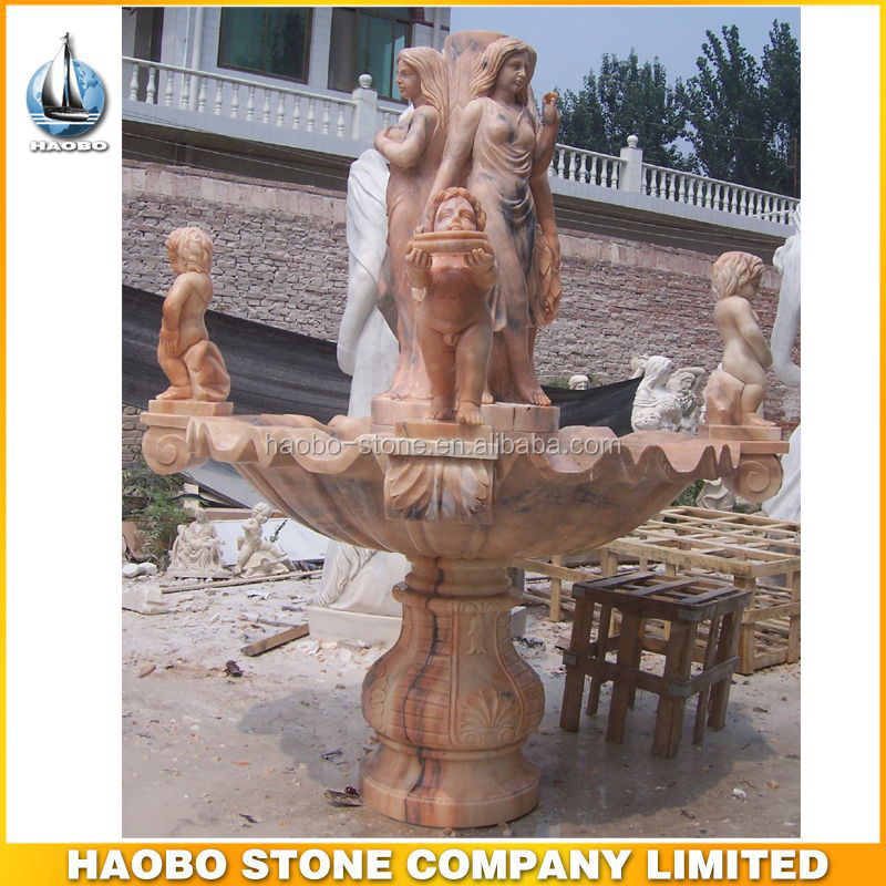 Sunglow Red Large Outdoor Naked Lady Stone Water Fountain