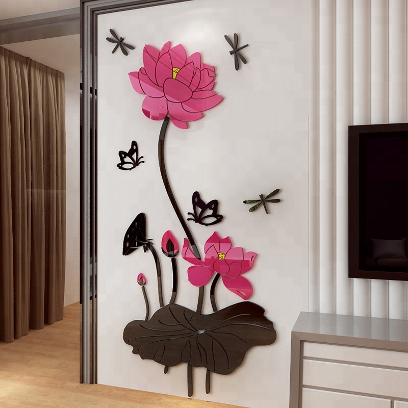 Chinese Lotus Flower Art Wall Sticker For Kids Room Bedroom Home