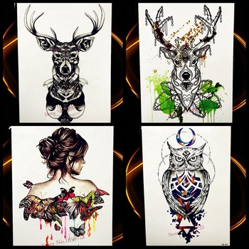 Big Black Green WaterColor Deer Temporarry Tattoo Men Women Body Art Tattoo Sticker Colored Moose Triangle Glitter Diamond Tatoo