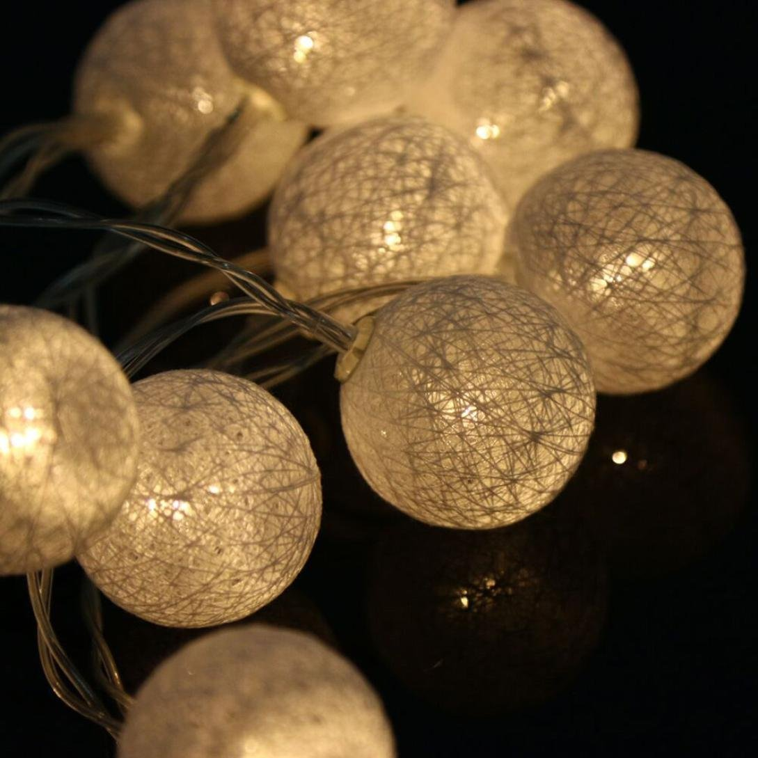 Tuscom 1.3M 10PCS LED Cotton Ball String Lights Party Wedding Christmas Decor Lights (warm white)