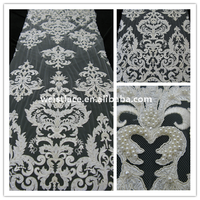 Gorgeous white lace fabric Embroidered bridal lace textile/ handmade pearl lace for wedding dress