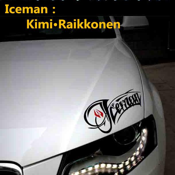 f1 driver iceman kimi raikkonen car stickers lights brow. Black Bedroom Furniture Sets. Home Design Ideas