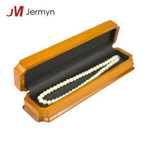 Fancy high lacquer wood pearl necklace box jewellery gift boxes custom logo