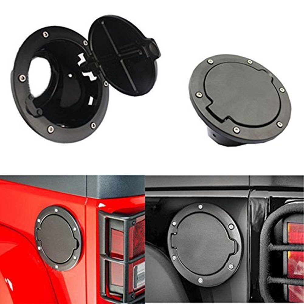 Wiipro Black Powder Coated Steel Fuel Filler Door Cover Gas Tank Cap Accessories for 2007 - 2015 Jeep Wrangler JK & Unlimited