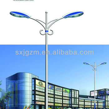 Dual arm Led Solar Street Lights Pole Design Use In Garden Park