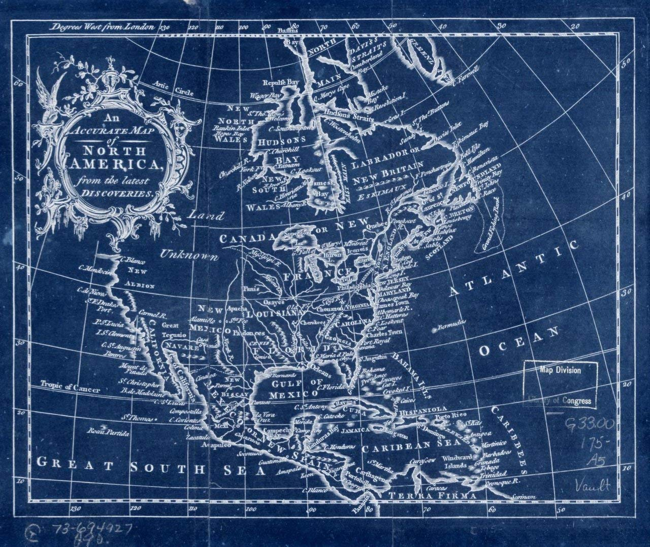 Vintography 18 x 24 Blueprint Style Reproduced Old Map of: 1750An Accurate map of North America from The Latest Discoveries. by None 1354BL_