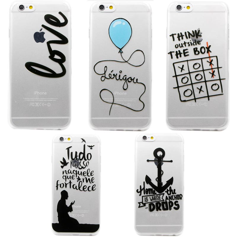 Lovely Funny Words Printing Soft Silicon Back Cover Case Funda Coque For iphone 5 5s 6