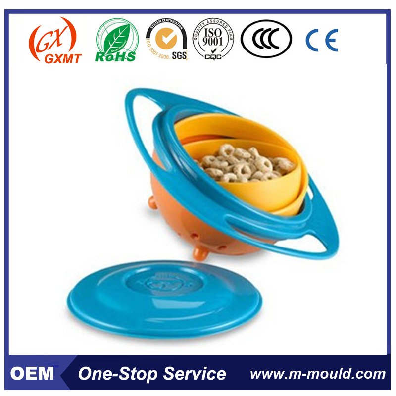 Spill-Resistant Gyro Snack Bowl For Baby 360 Degree Rotation Bowl