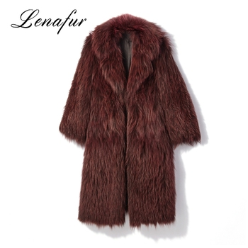 Professional Knitted Red Fox Sexy Women Fur Coat