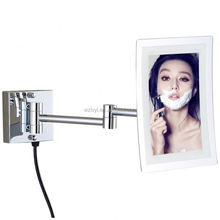 China Fashionable exquisite antique white cosmetic led desk mirror case
