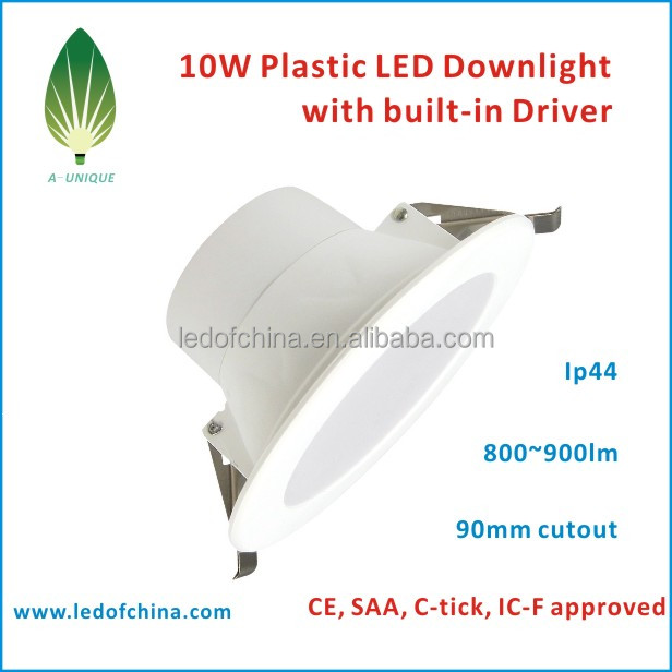 CE&ROHS&SAA approved 10W Recessed/Flat led downlight , IP44 Rated Round LED Downlight with internal driver
