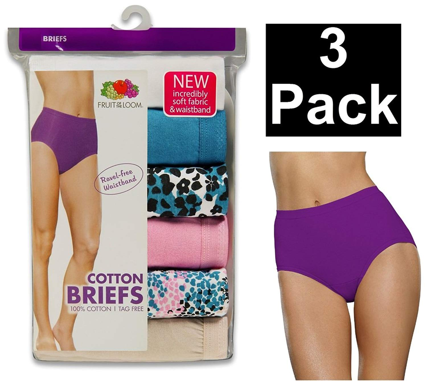 a334c179083a Get Quotations · Fruit of the Loom Women's 3 Pack Cotton Brief Panties