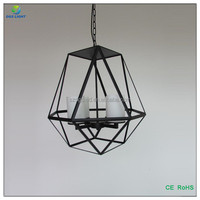 Top sale lantern shape iron cage pendant light hanging chandelier from china manufacture