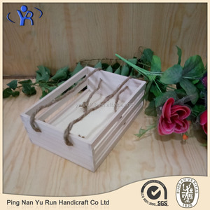 Solid wood fruit storage box with jute rope
