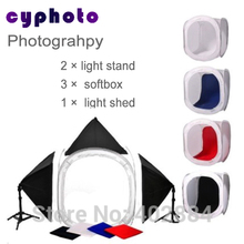 Free shipping + Commercial photography set ,2 pcs light stand,3pcs softbox,1pcs 80cm*80cm light shed,Photo Studio set