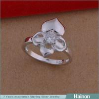 2015 ROHS Test Past fashion clover jewelry flower ring silver plated manufacturing companies