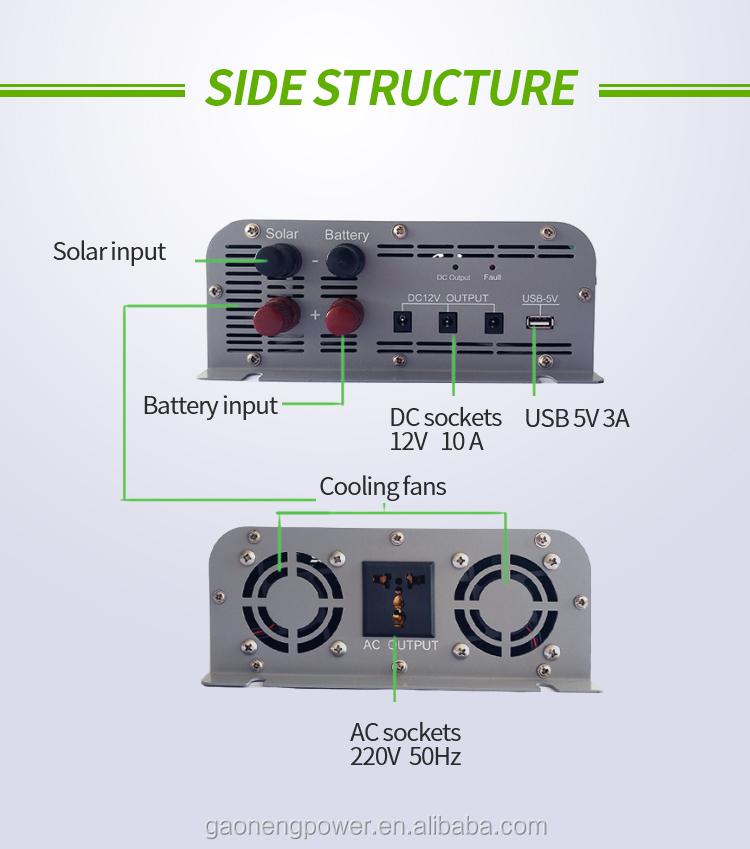 하이브리드 inverter 및 converter 와 MPPT controller inverter charger AC input 120 V 280 V