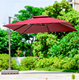 Aluminium beer garden/beach parasol straw pool side umbrella with lighted handle outdoor cafe umbrella