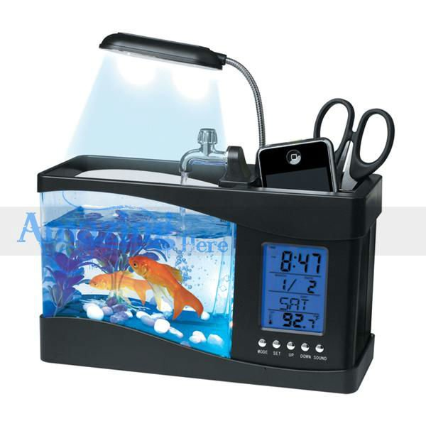 Mini Usb Lamp Light Fish Tank Aquarium Led Calendar Thermometer ...
