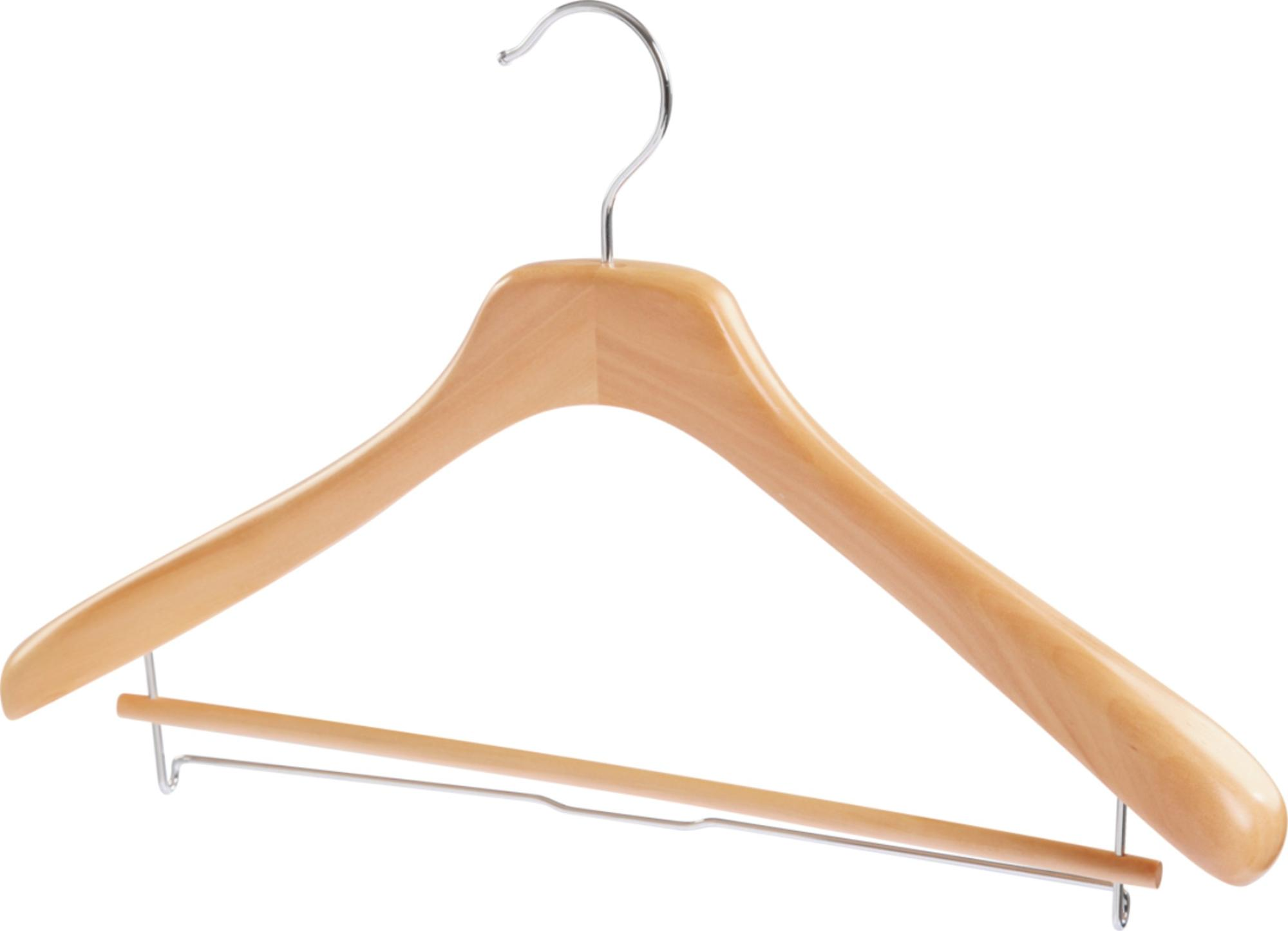 wooden wide shoulders& antislip bar coat hanger rack