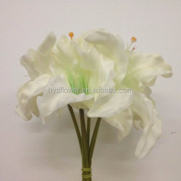 PU ivory white 6 heads lily bouquet, oriental lilies, lily flower
