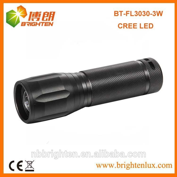 China Factory Supply Cheap Aluminum 3*AAA Dry Battery Operated Powerful cree 3w luxeon flashlight