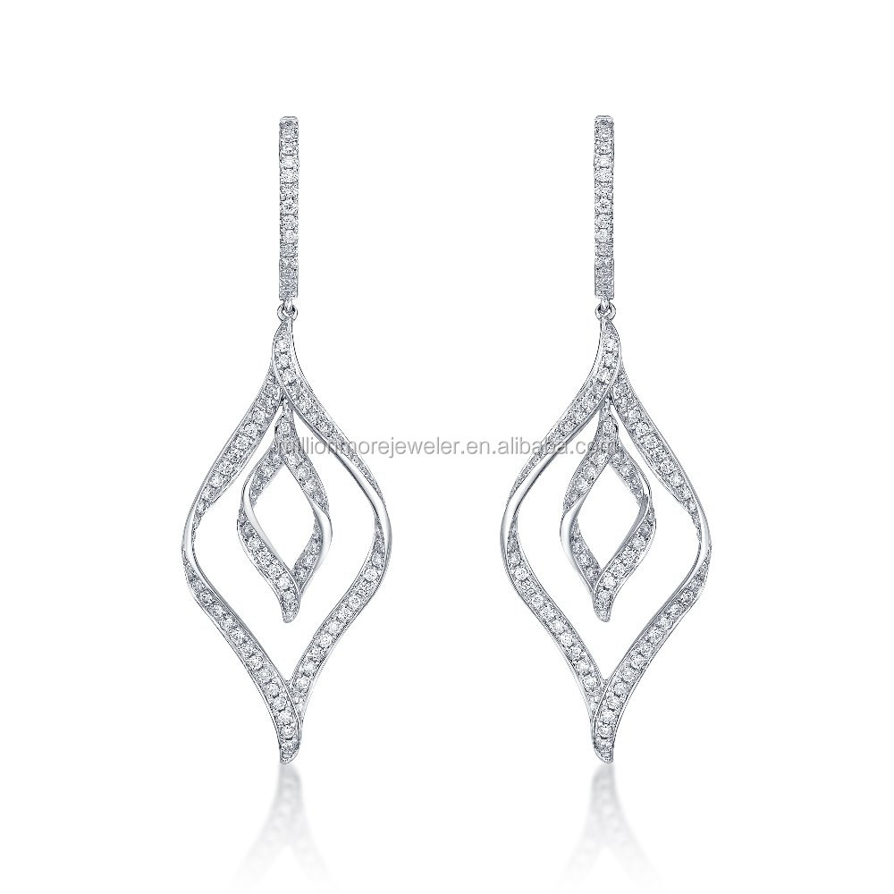 18K High End Fine Jewelry with Leaf motif 0.5cttw Diamond Latest Gold Earrings Designs