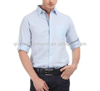 Men contrast color light blue linen shirt buy men for Mens light blue linen shirt