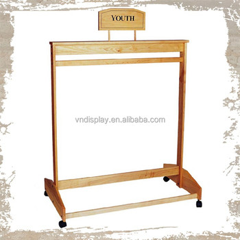 Garment Shop Wooden Clothes Racks With Wheels , retractable clothes racks