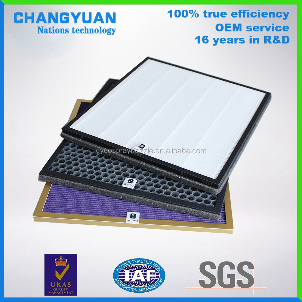 activated carbon h13 hepa filter, fiberglass media filter screen for air purification