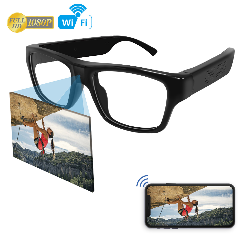 2018 1080P <strong>WIFI</strong> P2P Wireless Spy Glasses Camera Gadgets Pinhole No Button Hidden ip camera glasses Spy Glasses <strong>WIFI</strong> cctv camera