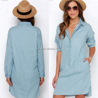 Fat Women Casual Long Sleeve Casual Dresses light blue jean color style with pocket front new products looking for distributor