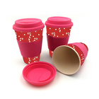 custom design 16oz reusable bamboo coffee cup with silicone lid