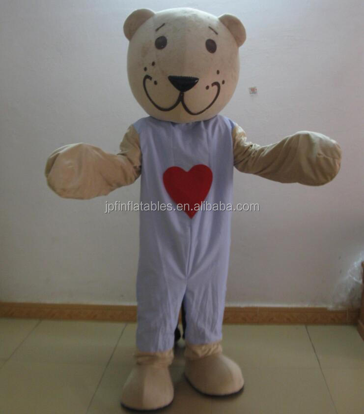movable cartoon red heart bear mascot costume for sale