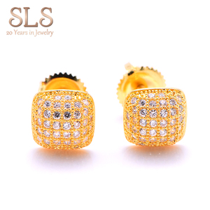 2019 Micro Pave Diamond Piercing Jewelry 14k Gold Screw Back, Men Iced Out Hip Hop Stud Earrings