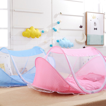 Instant Pop Up Portable Baby Travel Bed With Mosquito Net Pad Beach Tent Crib