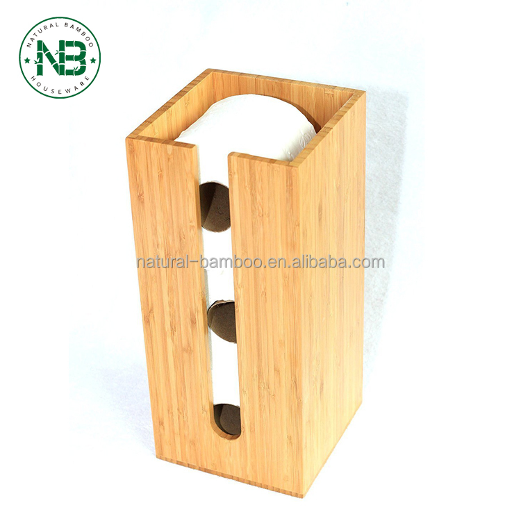 Bamboo Toilet Paper Holder perfect for toilet paper storage or general bathroom storage, a freestanding toilet paper holder hand